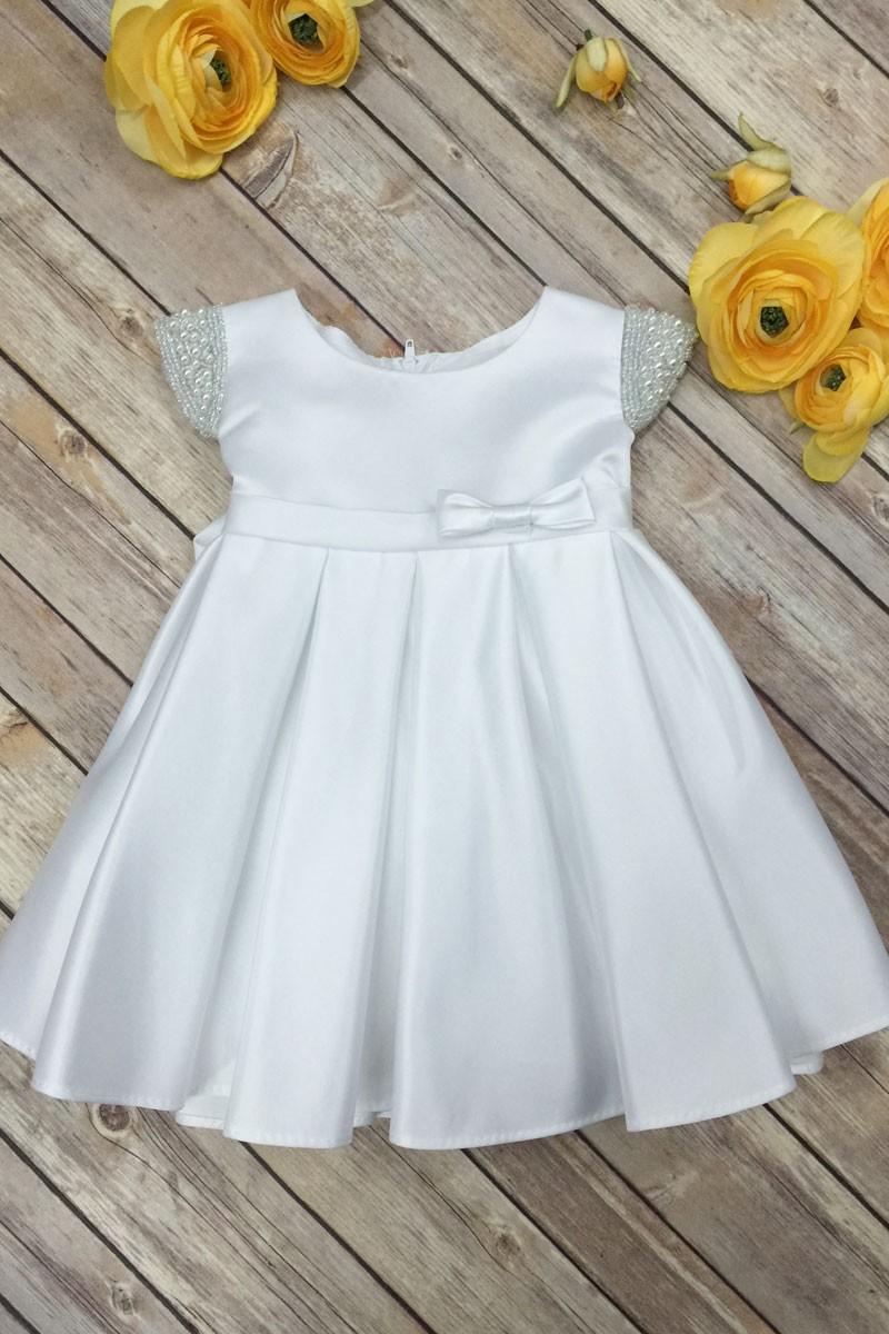 f927825250aa9 Elsie's White Baby Dress | Beaded Shoulder Satin Flower Girl Dress