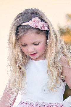 3D Rosette headband in blush color