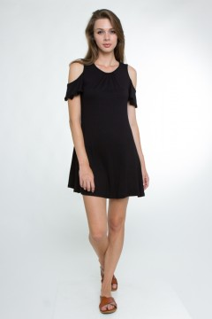 Chic cold shoulder dress.